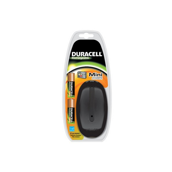 Chargeur CEF20 DURACELL - Mini Color - 2 piles AA 1700 mAh incluses