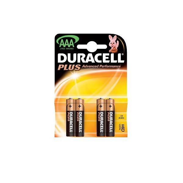 Piles LR03 Plus DURACELL - Blister de 4 - MN2400 - AAA - Alcaline