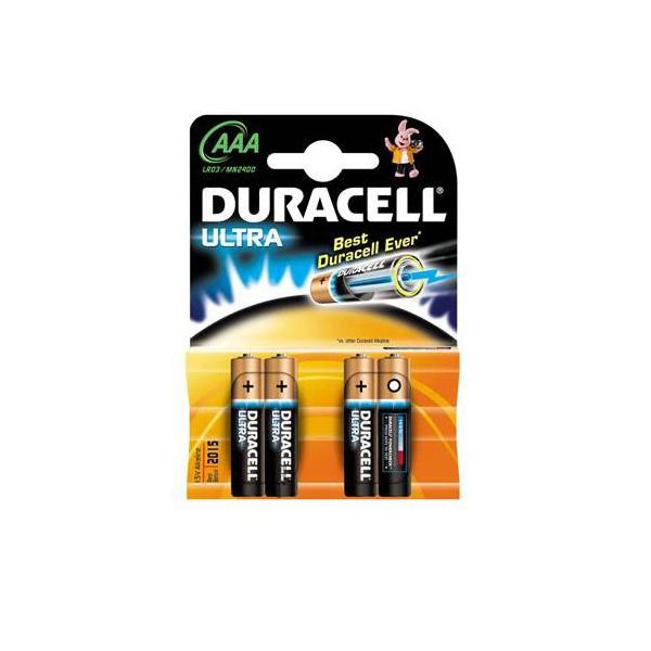 Piles LR03 Ultra M3 DURACELL - Blister de 4 - MN2400 - AAA - Alcaline