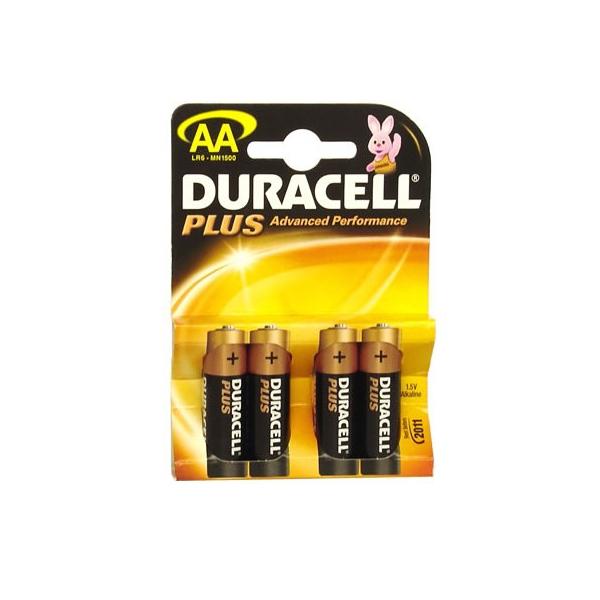 Piles LR06 Plus DURACELL - Blister de 4 - MN1500 - AA - Alcaline
