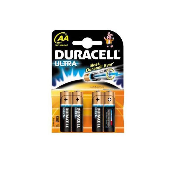 Piles LR06 Ultra M3 DURACELL - Blister de 4 - MN1500 - AA - Alcaline
