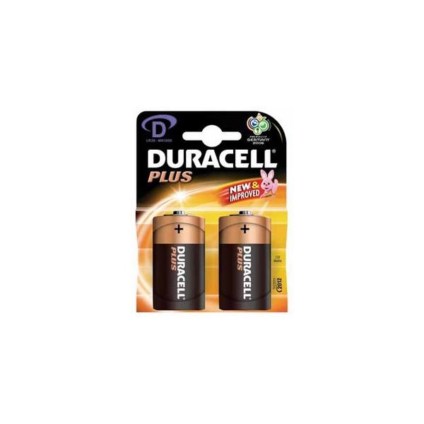 Piles LR20 Plus DURACELL - Blister de 2 - MN1300 - Alcaline