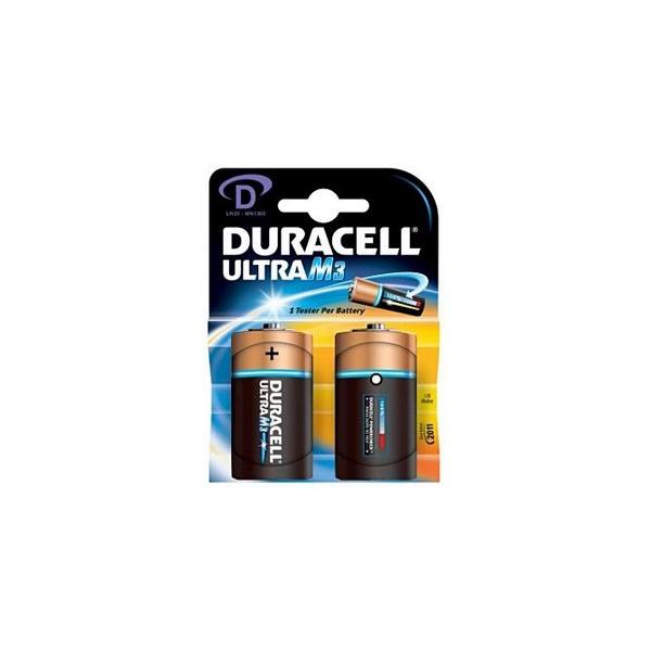 Piles LR20 Ultra DURACELL - Blister de 2 - MN1300 - Alcaline