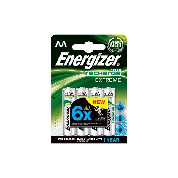 Accus HR6 Extreme ENERGIZER - R2U - Blister de 4 - AA - Ni-Mh - 2300 mAh