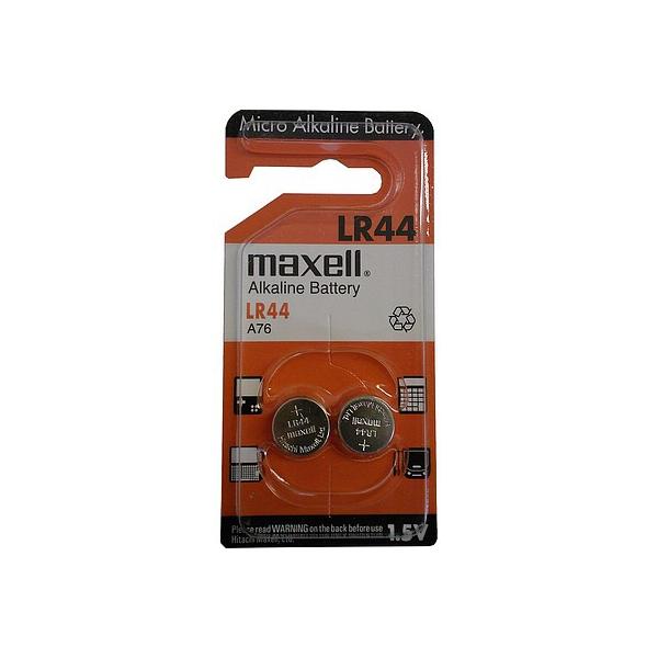 Piles LR44 MAXELL - Alcaline - Blister de 2