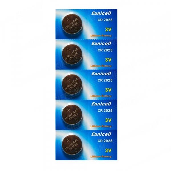 Piles électroniques CR2025 EUNICELL - Blister de 5 - Lithium 3V