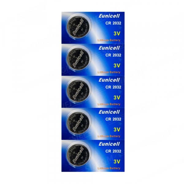 Piles électroniques CR2032 EUNICELL - Blister de 5 - Lithium 3V