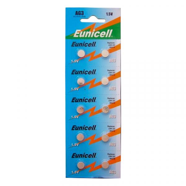 Piles de montre AG3 EUNICELL - Blister de 10 - LR41 / SR41 / 192/ 384 / 392 - Alcaline