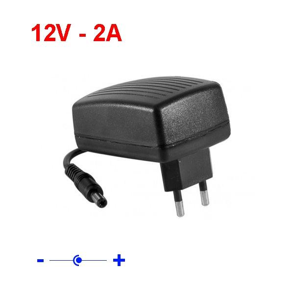 Chargeur secteur 12 V - 2A - jack 5,5mm / 2,5mm - Noir