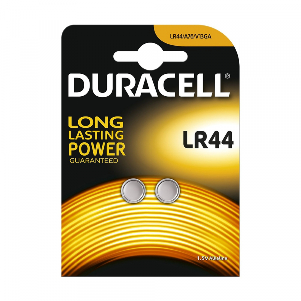 Piles LR44 DURACELL - Blister de 2 - AG13 / A76