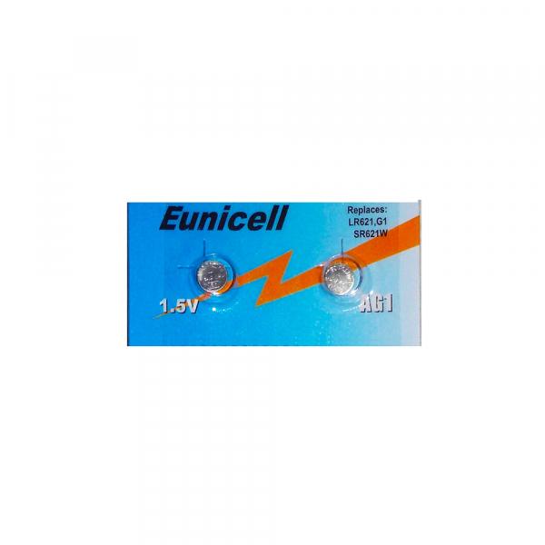 Piles de montre AG1 EUNICELL - Blister de 2 - LR60 / LR621 / SR621 /164 / 364 - Alcaline
