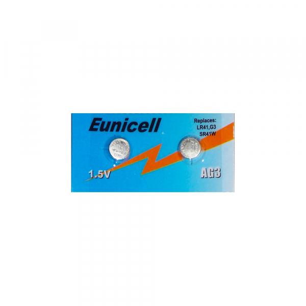 Piles de montre AG3 EUNICELL - Blister de 2 - LR41 / SR41 / 192/ 384 / 392 - Alcaline