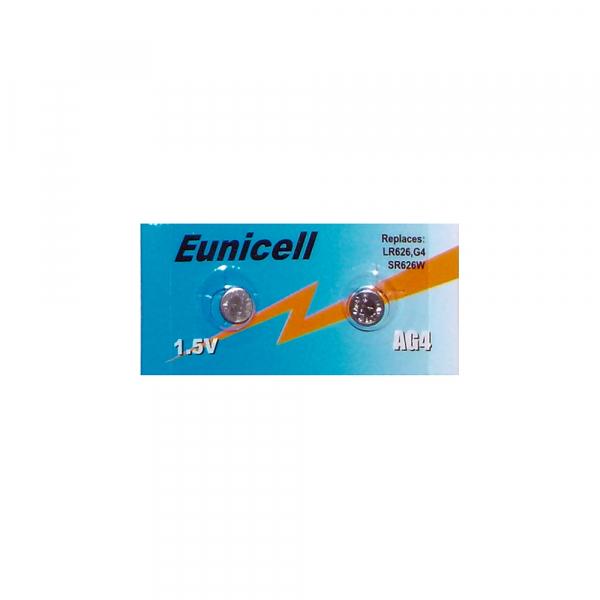 Piles de montre AG4 EUNICELL - Blister de 2 - LR626 / SR626 / 177 / 377 / 376 - Alcaline