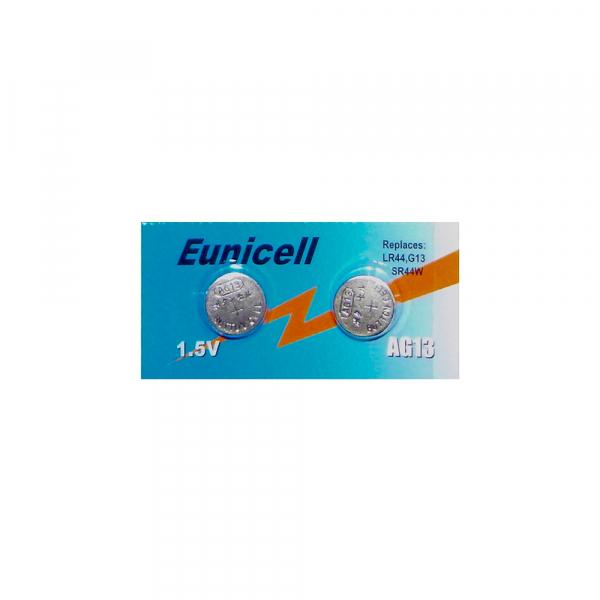 Piles de montre AG13 EUNICELL - Blister de 2 - LR44 / SR44 / A76 / 303 / 357 - Alcaline