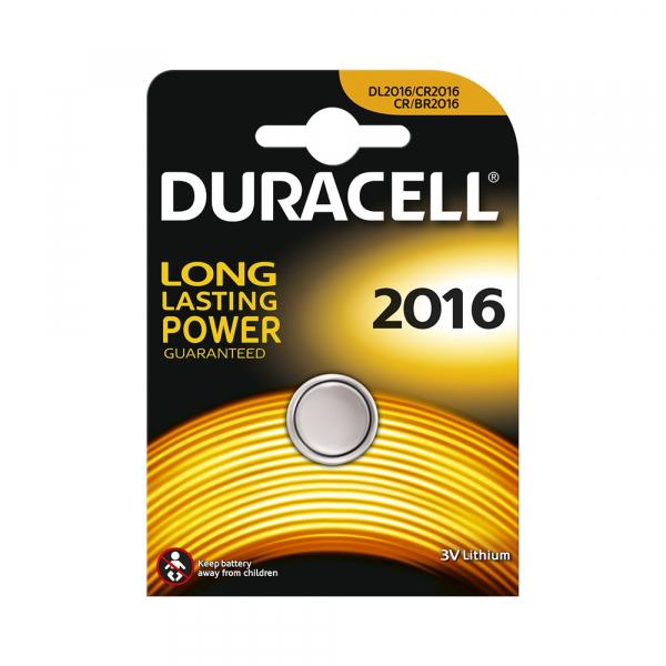 Pile électronique CR2016 DURACELL - Blister de 1 - Lithium 3V