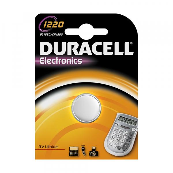 Pile électronique CR1220 DURACELL - Blister de 1 - Lithium 3V