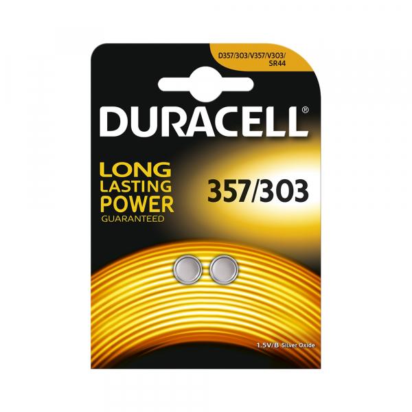 Piles de montre 357/303 DURACELL - Blister de 2 - SR44 - Oxyde d'argent