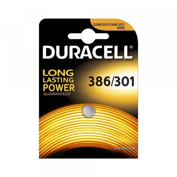 Pile de montre 301/386 DURACELL - Blister de 1 - SR43 - Oxyde d'argent