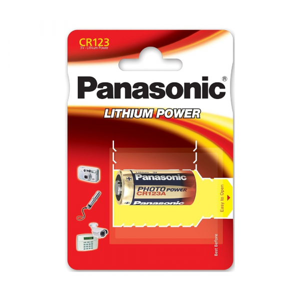 Pile photo CR123A PANASONIC - Blister de 1 - Lithium 3V