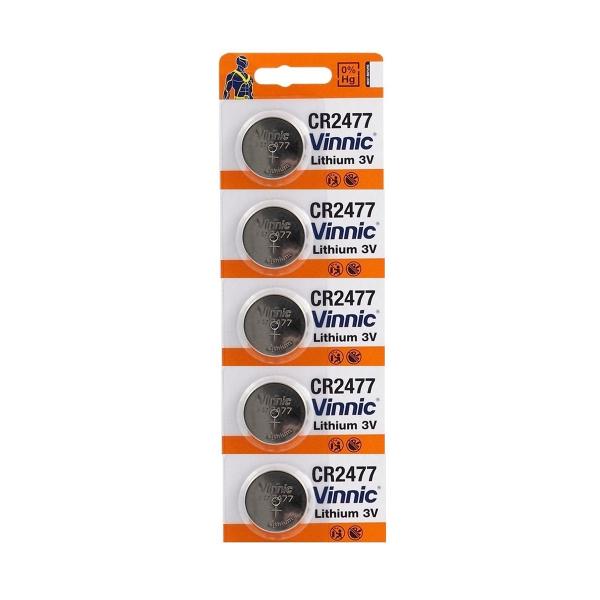 Piles CR2477 VINNIC - Blister de 5 - Lithium