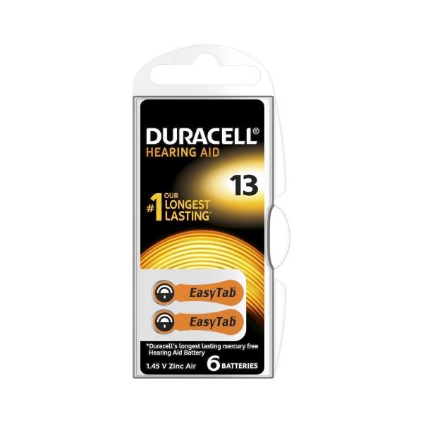 Piles auditives V13 Easytab DURACELL - Blister de 6 - PR48