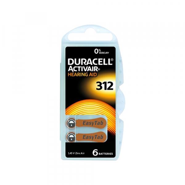 Piles auditives V312 Easytab DURACELL - Blister de 6 - PR41