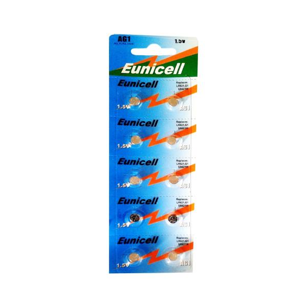 Piles de montre AG1 EUNICELL - Blister de 10 - LR60 / LR621 / SR621 /164 / 364 - Alcaline