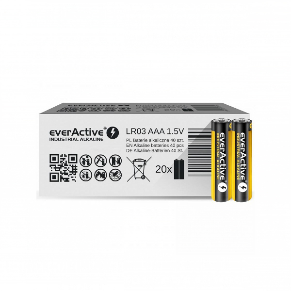 Piles industrielles LR03 EVERACTIVE - Boite de 40 - MN2400 - AAA