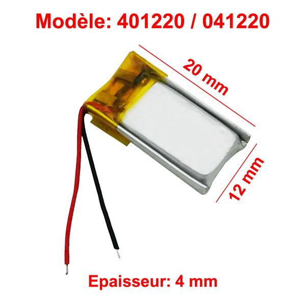 Batterie Li-Po - 3.7V - 80mAh - 401220 / 041220