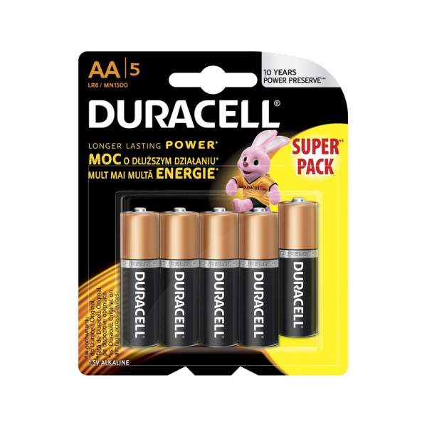 Piles LR06 Basic DURACELL - Blister de 5 - AA - Alcaline
