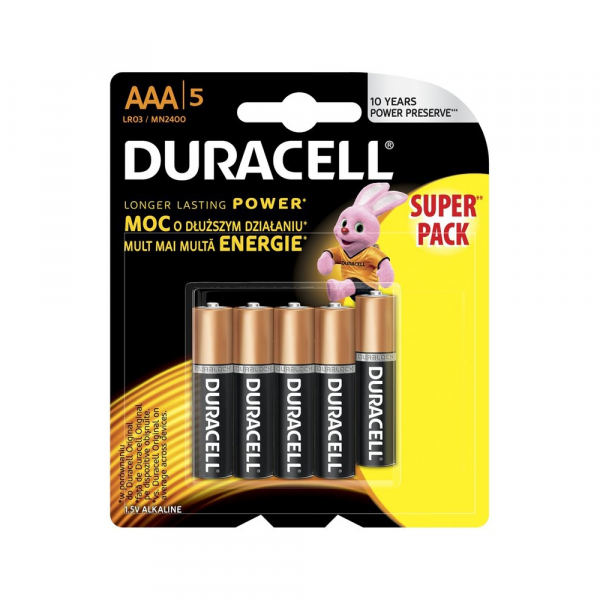 Piles LR03 Basic DURACELL - Blister de 5 - AAA - Alcaline