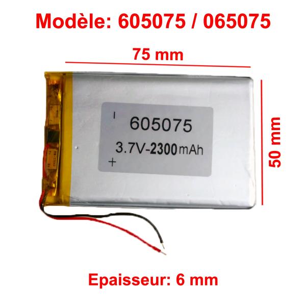 Batterie Li-Po - 3.7V - 2300 mAh - 605075 / 065075