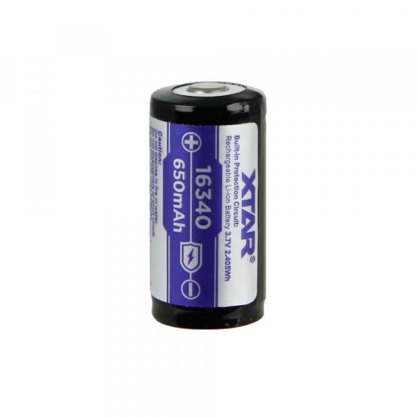 Accu RCR123A XTAR - 16340 - Blister de 1 - Lithium 3,7V - 650mAh - Avec protection
