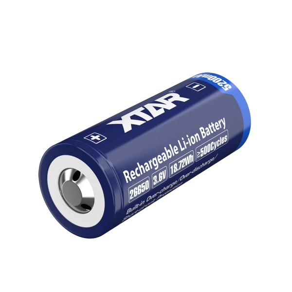 Accu 26650 XTAR - Blister de 1 - Lithium 3,6V - 5200mAh - Avec protection