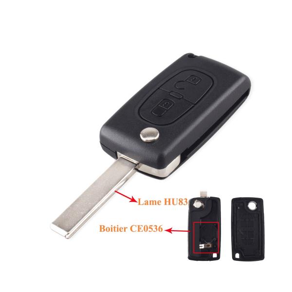 Boitier de télécommande - Clé Plip 2 boutons - PEUGEOT & CITROËN - HU83 / CE0536 - 207/307/308/407/C2/C3/C4/C5/C6/C8/Picasso
