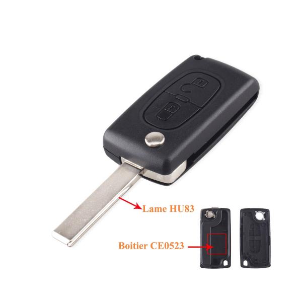 Boitier de télécommande - Clé Plip 2 boutons - PEUGEOT & CITROËN - HU83 / CE0523 - 207/307/308/407/C2/C3/C4/C5/C6/C8/Picasso
