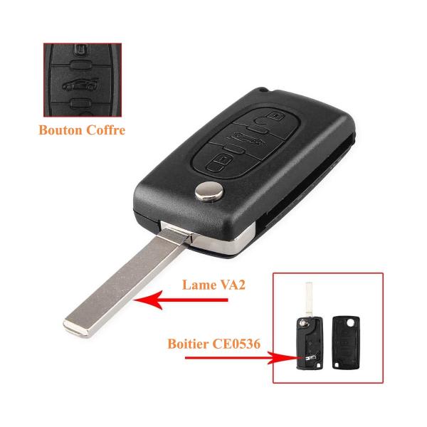 Boitier de télécommande - Clé Plip 3 boutons - PEUGEOT - VA2 / CE0536 - 307/308/407/607