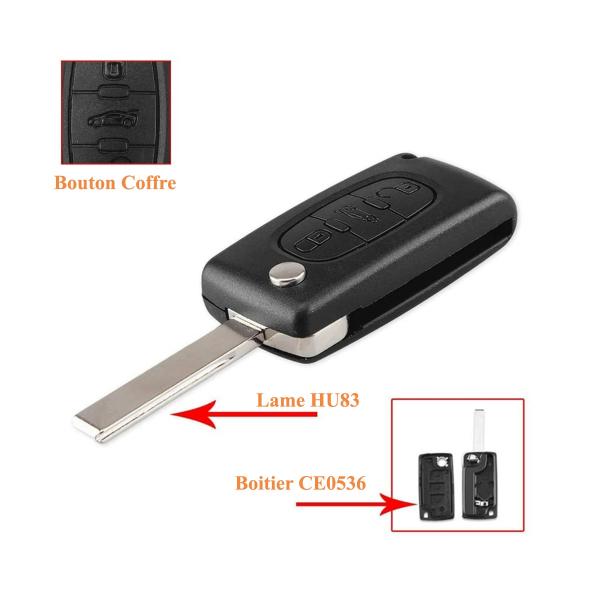 Boitier de télécommande - Clé Plip 3 boutons - PEUGEOT - HU83 / CE0536 - 307/308/407/607