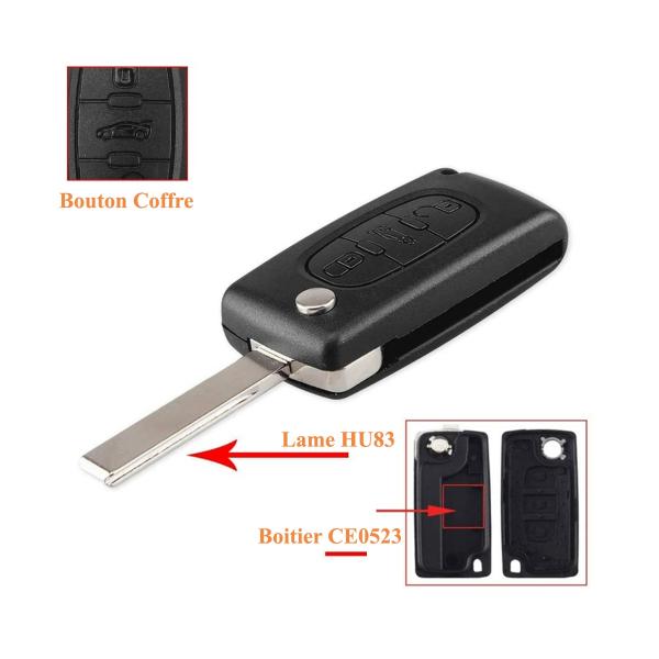 Boitier de télécommande - Clé Plip 3 boutons - PEUGEOT - HU83 / CE0523 - 307/308/407/607