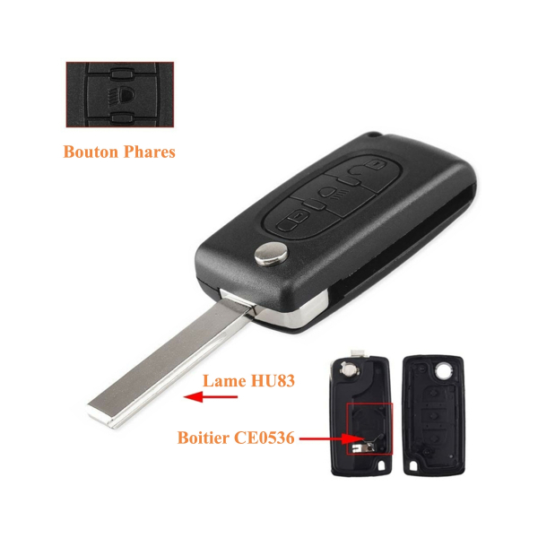 Boitier de télécommande - Clé Plip 3 boutons - CITROËN - HU83 / CE0536 - C2/C3/C4/C5/C6/C8