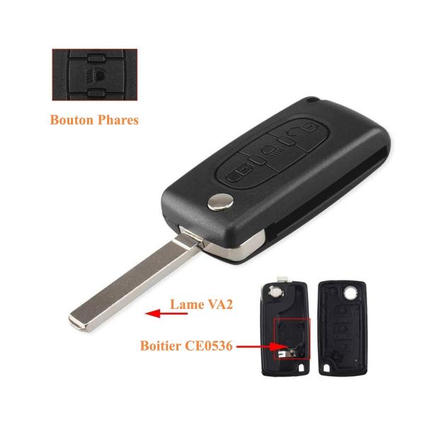 Boitier de télécommande - Clé Plip 3 boutons - CITROËN - VA2 / CE0536 - C2/C3/C4/C5/C6/C8