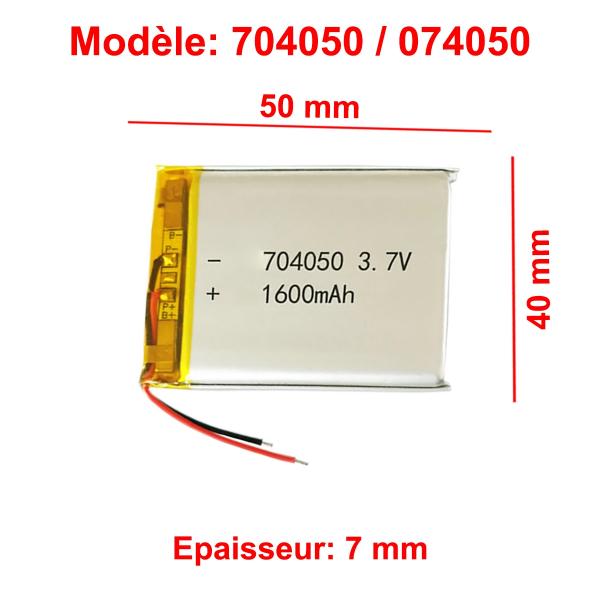 Batterie Li-Po - 3.7V - 1600 mAh - 704050 / 074050