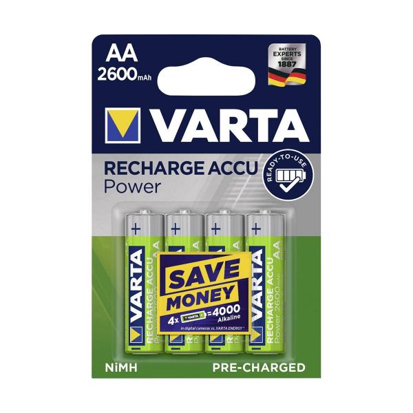 Accus HR6 Prechargé VARTA - Blister de 4 - AA - Ni-Mh - 2600 mAh